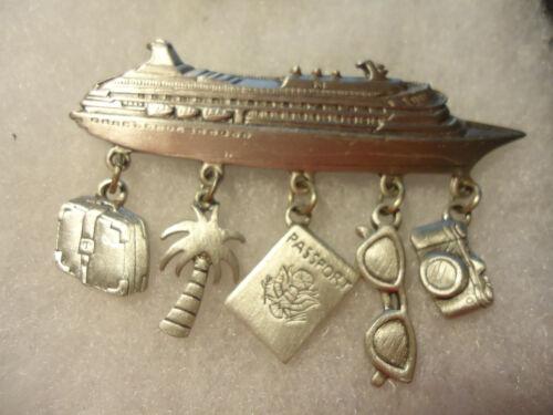 JJ vintage/nos pewter Cruise Ship charms pin