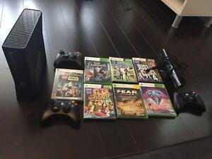 Xbox 360 S with 3 Controllers and 7 Games