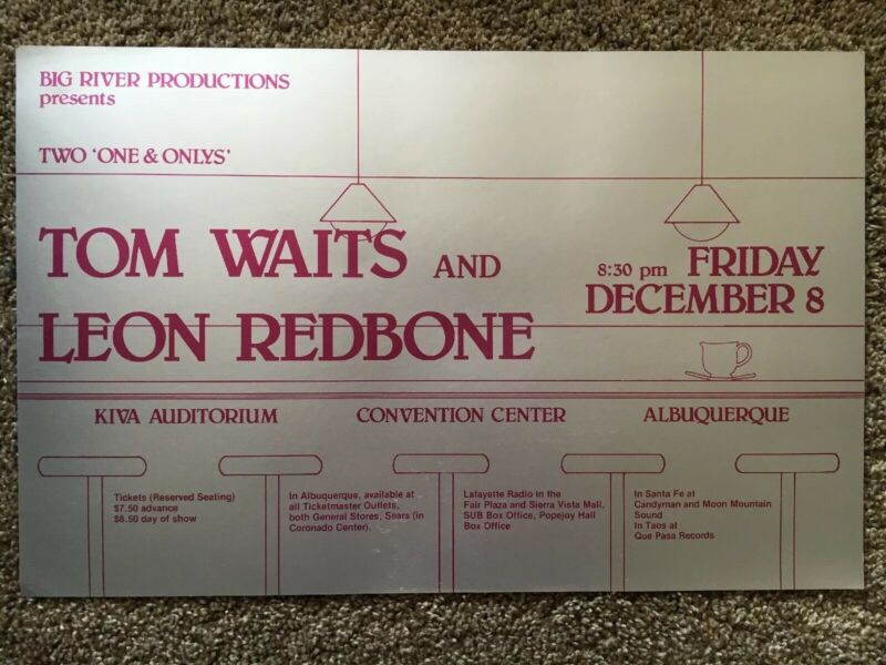 TOM WAITS AND LEON REDBONE CONCERT POSTER