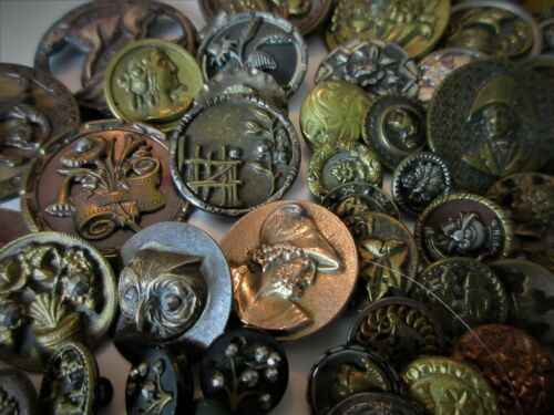BEAUTIFUL LOT ANTIQUE,VINTAGE,BUTTONS NICE COND.,STEEL,VICTORIAN,GLASS,METAL