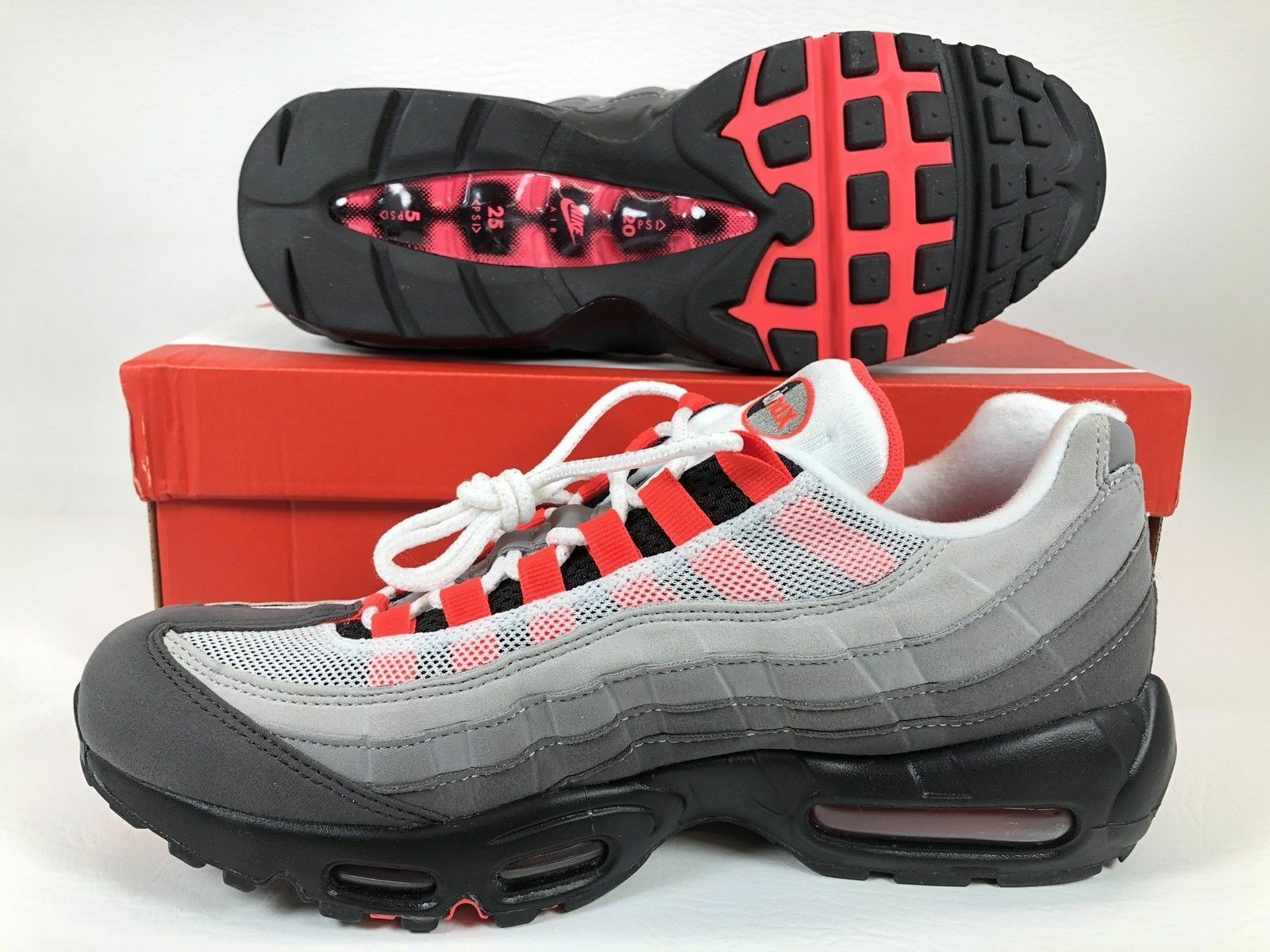 premium selection 26844 db9c7 Details about Nike Air Max 95 OG Solar Red Granite Men's Running Shoes  AT2865-100 SZ 5