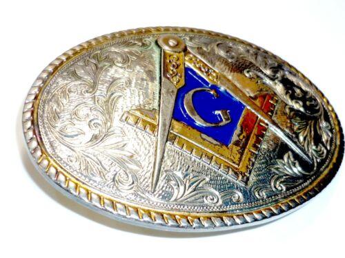 RARE Vintage Masonic Free Mason Belt Buckle Freemason Templar Knights G Geometry