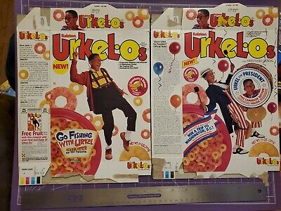 1991 Ralston Urkelos Urkel-os cereal box lot of 2/Family Matters