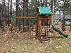 Outdoor wooden play structure