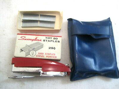 Vintage Swingline Red Tot 50 Miniature 3 Finger Pocket Stapler Staples Pouch