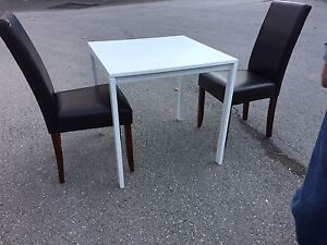 IKEA white kitchen/dining table with 2 leather chairs.  London Ontario image 1