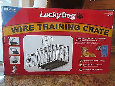 "Lucky Dog Folding Black Wire 2 Door Training Crate 22"" x 13"" x 16"" Under 25 Lb."