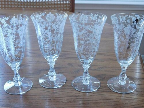 Cambridge Rose Point 10 oz footed tumbler - set of 3 or 4 (see auction) Vintage