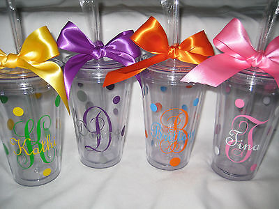 Monogram tumblers with straws, Personalized cups, bridesmaid cups, initials - Monogrammed Cups With Straw