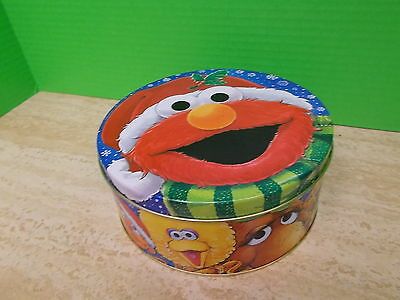 ELMO & FRIENDS, Sesame Street Christmas Round Tin Container / Canister
