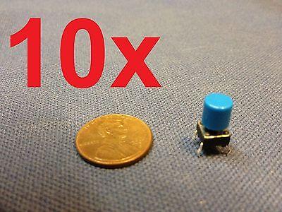 Blue 10 Pieces Plastic Cap 6x6x7mm Tactile Push Button Switch 10pcs 10x C1