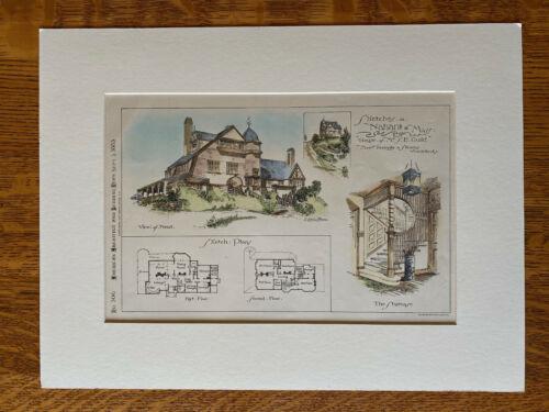 House, Mrs S E Guild, Nahant, MA, Peabody & Stearns, 1885, Original Hand Colored