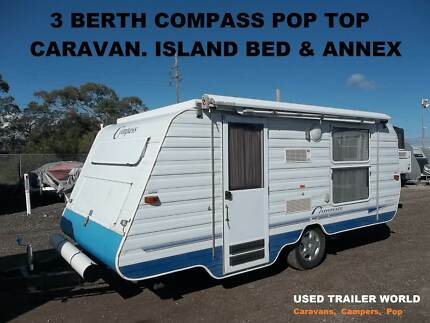 3 BERTH REGISTERED COMPASS POP TOP CARAVAN. ISLAND BED & ANNEX.