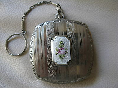 Antique Art Deco Silver T White Guilloche Enamel Pink Floral Dance Compact 1920s