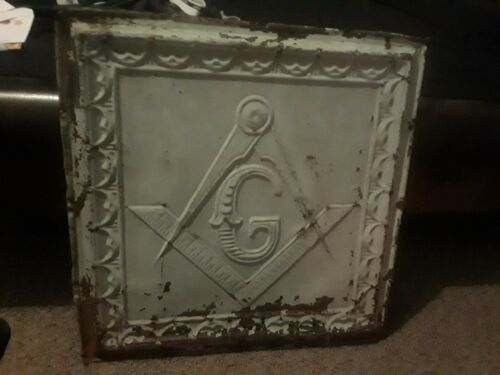 Late 19th-early 20th century Molded tin ceiling panel Masonic compass and square