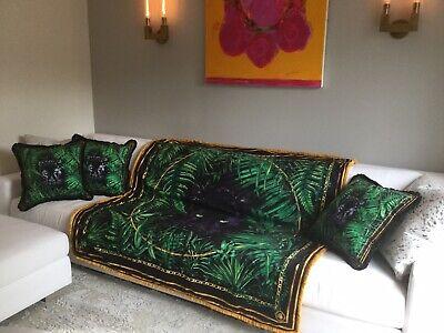 Large Custom Made Velvet Throw Versace Print Uplostery Fabric Panter Green Black