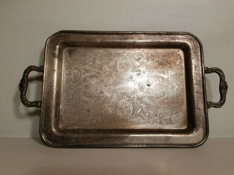"Silverplate Rectangular Footed Serving Tray with Handles 10""x13.5"" vintage"