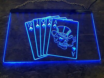 Poker LED Schild - Blau - Led Playing Cards