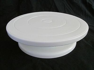Beschädigt Wilton Weißes Plastik Klein Kuchenstand Drehteller Drehen Stil