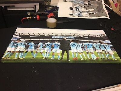 "Manchester City #mcfc 17/18 Guardiola's Blue & White Army Canvas (28""x13"") £20"