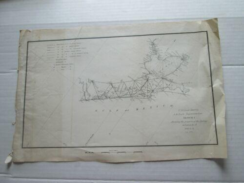 ONE (1) 1848-51 COAST SURVEY TRIAGULATIONS S-I,NO.9, TX GALVESTON BAY TO JUNIPER