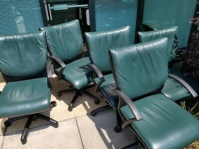 5 Leather High Back Green Executive Office Computer Chairs.