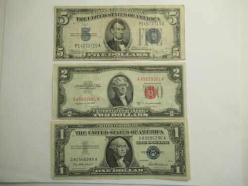 Lot of 3 Notes,  1934 C $5 Silver Cert, 1953 B $2 US Note, 1957 $1 Silver Cert