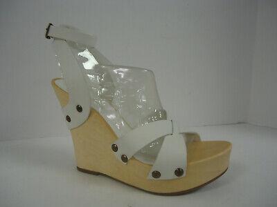 BCBG GIRLS BCBGIRLS White Ankle Strap Wedge Sandals 90s 00s y2K 8.5 M