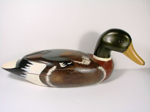 HAND PAINTED WOODEN DUCK LIDDED HOLDING BRASS SET OF DOMINOES #7