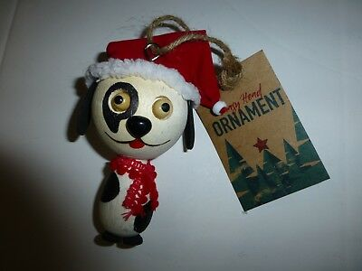 Spotted Dog with Santa Hat Wooden Christmas Ornament New by Crazy Head ](Crazy Santa Hats)