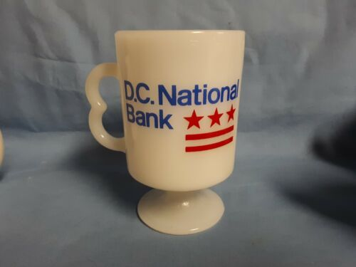 VITAGE! D.C. NATIONAL BANK MILK GLASS COFFEE MUG