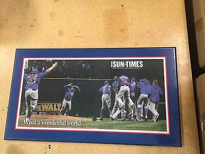 Chicago Cubs Sun Times Newspaper Plaque World Series