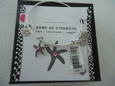 Alex and Ani ARMS OF STRENGTH Russian Silver Charm Bangle New W/Tag Card & Box