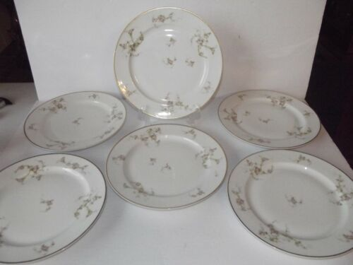 (6) Dinner Plates 9.75 P L Limoges Porcelaine Limousine France pink rose M Redon