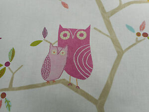 Harlequin Curtain Fabric  'What a Hoot' 3.3 METRES Pink/Aquamarine/Lime/Natural