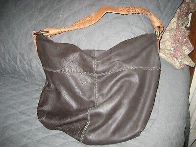 LUCKY BRAND DARK BROWN LEATHER WITH TANNED LEATHER BRAIDED HANDLE HOBO Ladies Dark Brown Leather