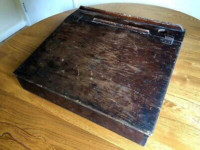 Antique Wooden Writing Slope School Lap Desk Ink Well Hinged Top 1940's Vintage