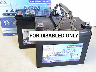 PAIR of LEOCH12V 34ah (replaces 33Ah - 36Ah) AGM MOBILITY SCOOTER Batteries*