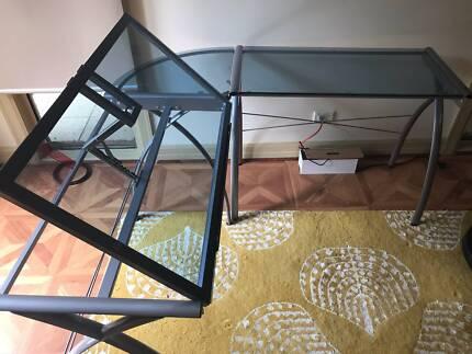 GLASS CORNER DRAFTING ARTIST TABLE / DESK
