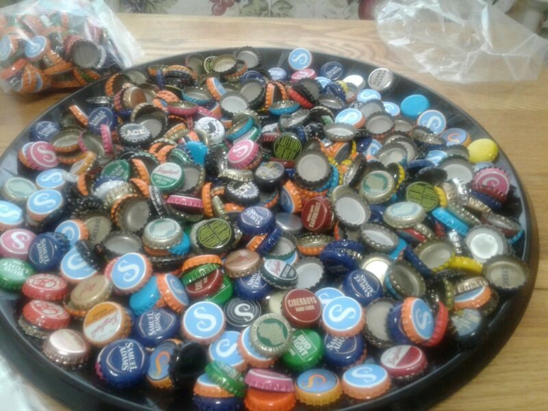 160 Beer Cider Bottle Caps Tops Assorted Variety Collection Arts Crafts Jewelry