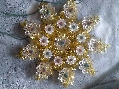 """Vintage Christmas Light Up Star Gold Tinsel Tree Topper 19 LIGHTS 9"""" WIDE & TALL"""