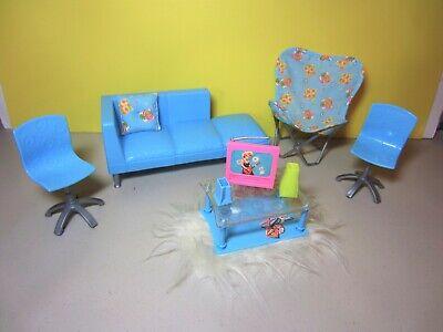 RARE Barbie All Around Home Family LIVING ROOM Blue Furniture