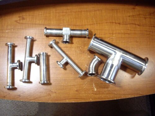 USED - Lot of 7 - SANITARY STAINLESS 316L TRI CLOVER FITTING ASSORTMENT