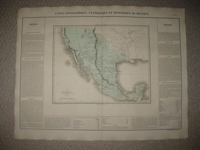 HUGE ANTIQUE 1825 MEXICO TEXAS PROVINCE CALIFORNIA UNITED STATES CAREY & LEA MAP
