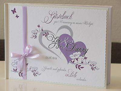 Personalisiert Gästebuch Hochzeit flieder/lila weiß Blätter-Ranken Deko Geschenk ()