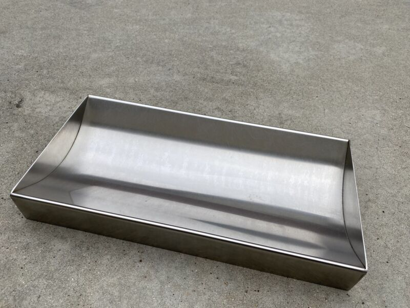 "Cash Window Money Tray 18""L x 10""W x 2 1/8 High Stainless Steel USED AS SHOWN"