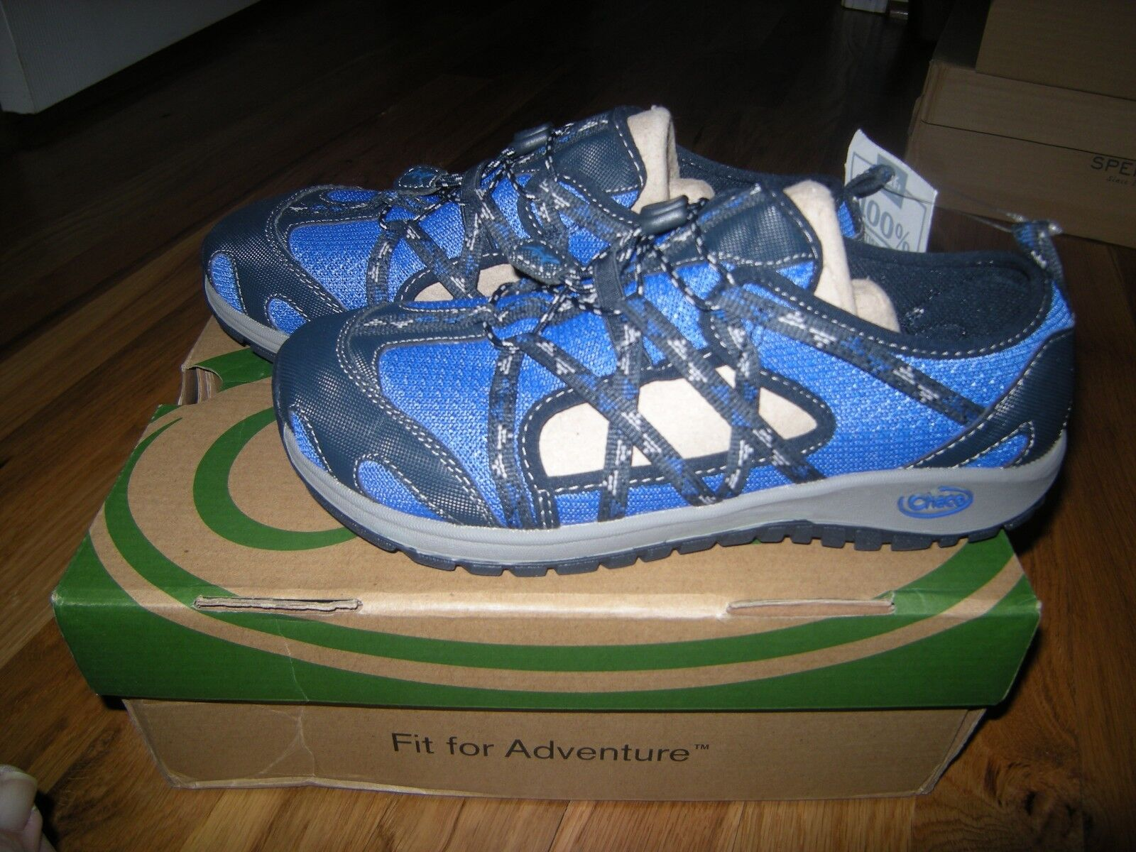 New  Boys Toddler Blue Chaco Outcross Sandals, Size 4