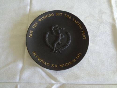"Vintage Wedgwood black basalt plate 1972 Munich Olympics 6.5 """