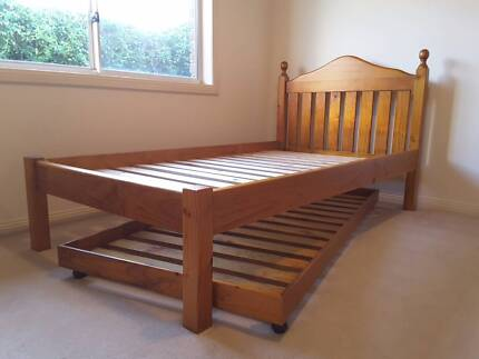 King Single Pine Bed Frame with S/B roll out Trundle & Mattresses