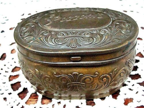 Vintage Advertisement Pozzoni's Hinged Box Antique Powder Box Vanity Tin Copper